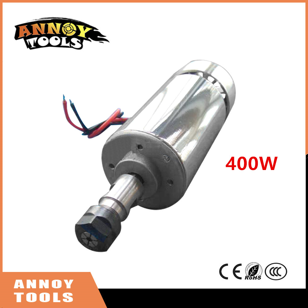 Free Shipping ANNOYTOOLS 400W DC Air Cooled Spindle Motor 52mm 500mN.m+ER11 Collet for CNC Engraving Machine free shipping 300w air coolded spindle motor 12 48v dc er11 collect 52mm mount bracket fixture for pcb cnc machine