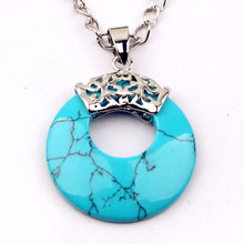FYJS Unique Jewelry Silver Plated Round Hollow Vintage Pendant Blue Turquoises Stone Necklace