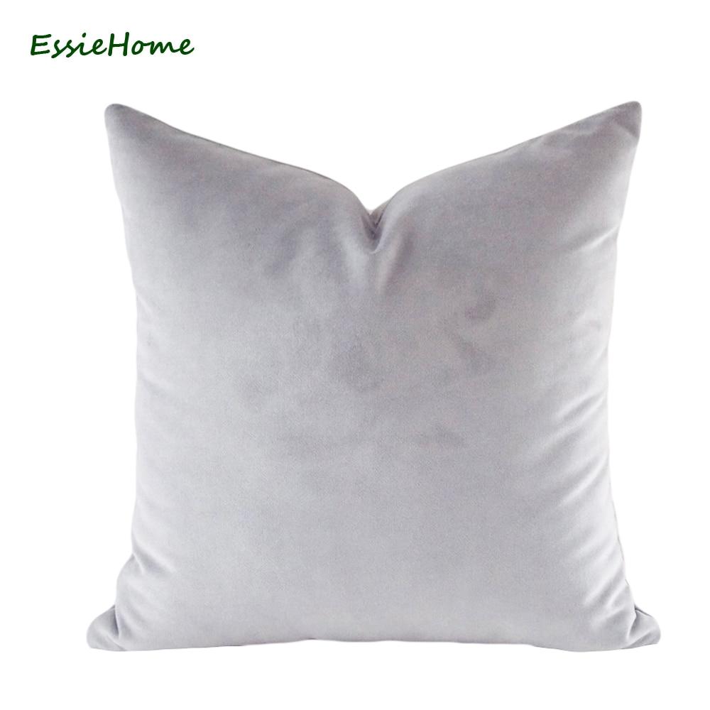 ESSIE HOME Луксозна матова памучна кадифена сребристо сива кадифена възглавница Калъфка за възглавница за лумбална възглавница
