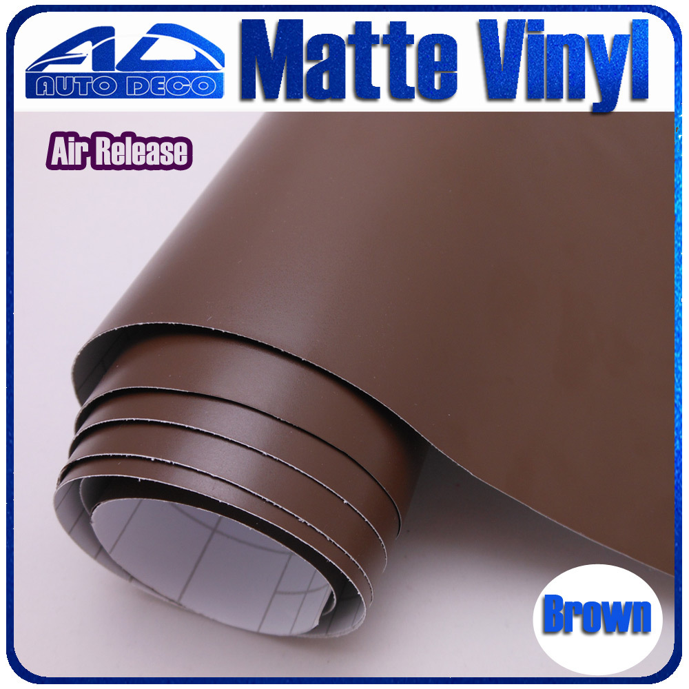 FedEx Free Shipping High Quality Car Brown Matte Vinyl Sticker Film  For Car Diy Deco Color Change 1.52*30m/roll