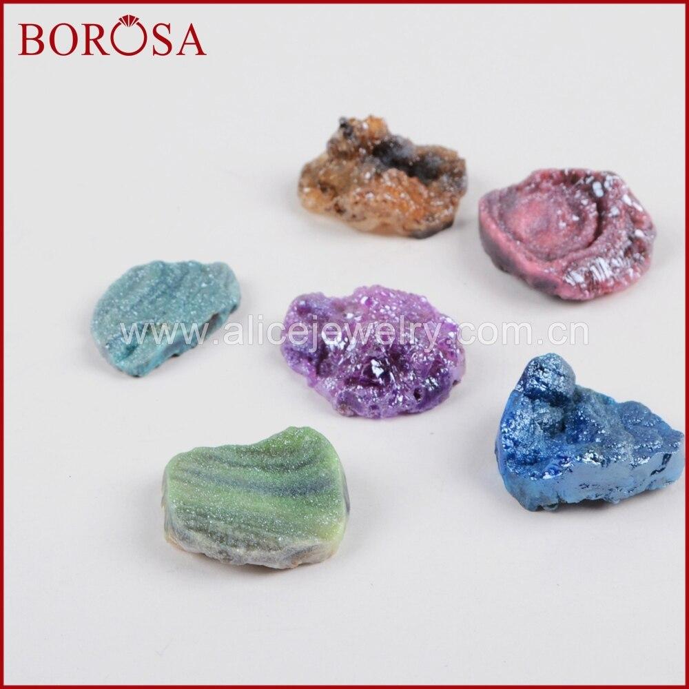 BOROSA 5/10PCS New Freeform Titanium Rainbow Ga-laxy Druzy Cabochon CAB Beads Quartz Beads Druzy Gems for Jewelry Making LS019