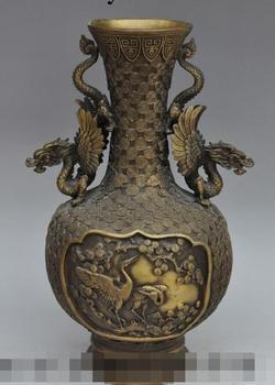 """Envío libre S00448 15 """"China palace bronce dragon phoenix Crane Estatua Zun Copa Botella Olla Florero Tarro"""