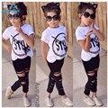 2016 New Fashion Kids Girls Clothes Set Little Girl Summer Short Sleeve T-Shirt and Hole Pant Leggings 2PCS Outfit Children Set