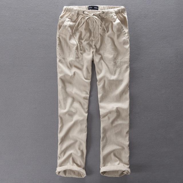 3f3bcacf78031 € 19.77 5% de réduction|Italie Style marque pantalons longs hommes  pantalons en lin hommes lâche taille élastique pantalons décontractés  hommes ...