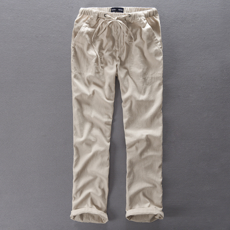 İtalya Stil Marka Uzun pantolon Erkekler keten pantolon erkekler gevşek elastik bel rahat pantolon erkekler pamuk pantalon homme broek 38 boyutu