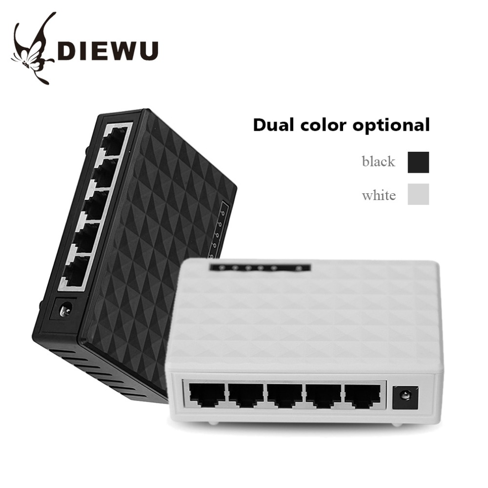 DIEWU 5 Ports Ethernet Switch board Network Cable Distributor Shunt Plastic Shell 1000 M ...