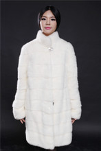 white genuine mink fur coat natural 2016 new fashional woman with collar 90cm real natural mink