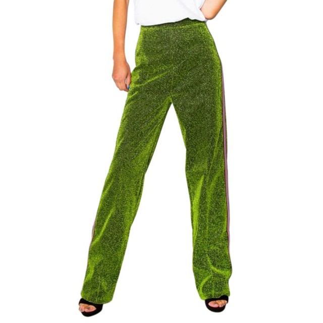 Women Girls Club Solid straight Sequin Trousers Loose Long Pants High Quality Fashion Newest [category]