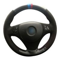 Fiber Leather Black Suede Car Steering Wheel Cover for BMW E90 320i 325i 330i 335i E87 120i 130i 120d