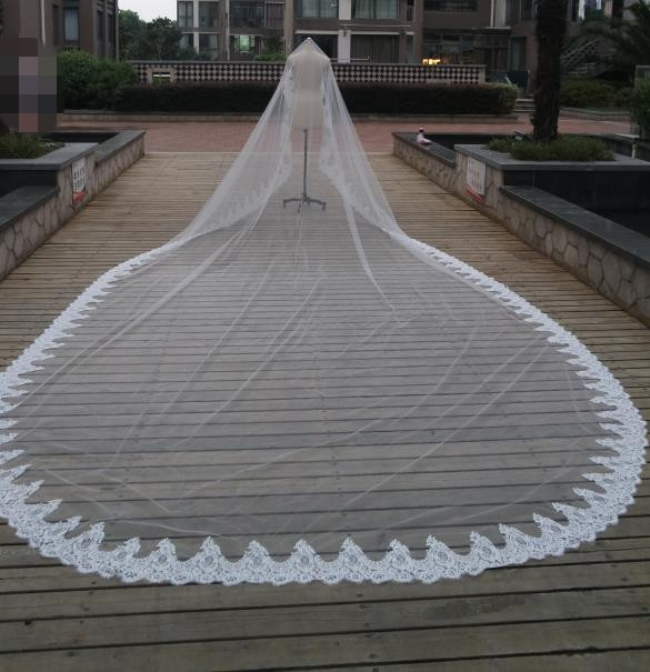Ruthshen Real Royal Cathedral Length Wedding Veils 3m 6m Lace Liques One Layer Long Dresses Accessories Bridal Veil