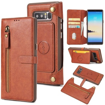 Galaxy note 8 multifunction wallet case card holder flip cover zipper leather