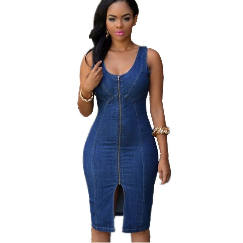 2018 Summer Casual Style Sexy Sleeveless Faddish Denim Gold Zipper Front Midi Dresses Women Vestidos Casuales De Mujer AD054 in Dresses from Women 39 s Clothing