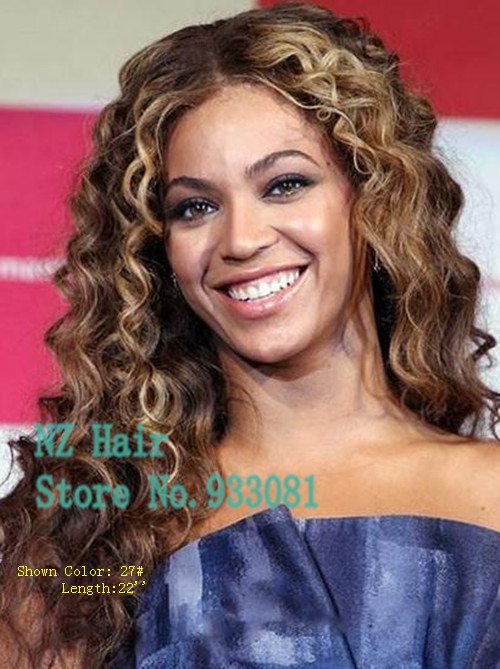 Beyonce Full Lace Human Hair Wigs Grand Long Curly Honey Blonde Hair