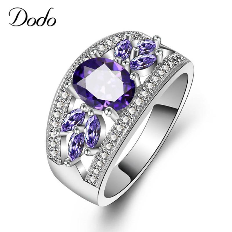 DODO Purple Zircon Leaves Wedding Ring Silver Color Round