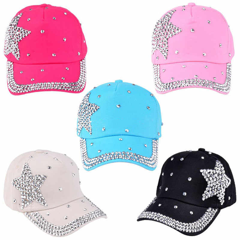 New Fashion baby Baseball Cap Rhinestone Star Shaped Boy Girl Snapback Hat cute Summer Autumn hat Children Accessories wholesale