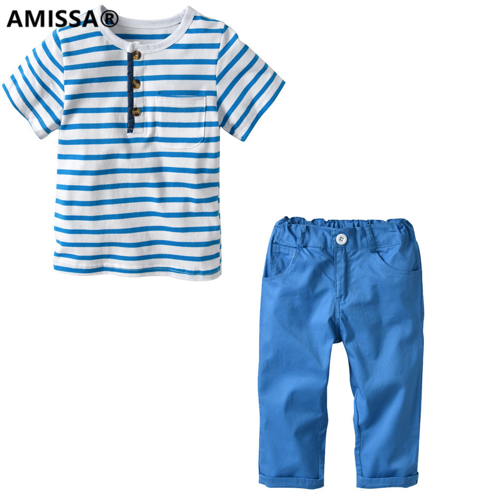 Amissa 2018 Stripe Short Sleeve Woven Trousers Suit Children Child Sets Baby Kids Girls Boys Clothes Clothing Casual Cotton недорго, оригинальная цена