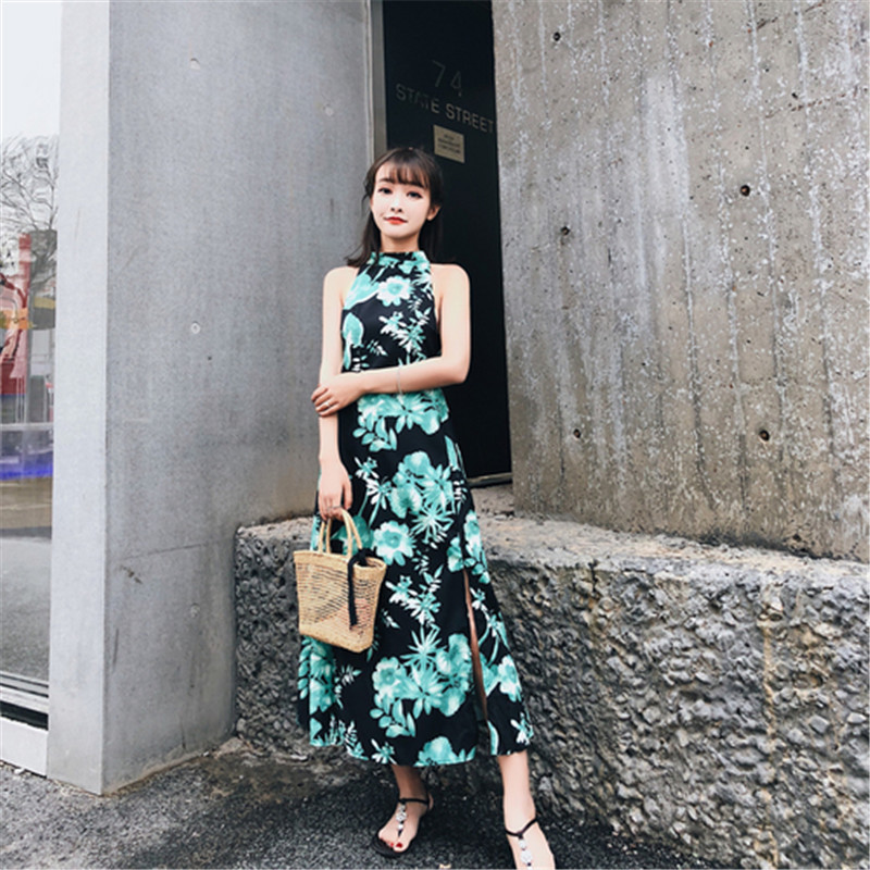 f12bf1cd15df SZMXSS 2018 summer women's dress new fashion Thailand Bali Island back care  machine hanging neck open wind holiday long dresses-in Dresses from Women's  ...