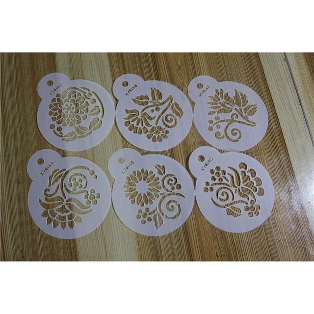 6pcs Cappuccino Coffee Art Templates Acrylic Decorative Handicrafts