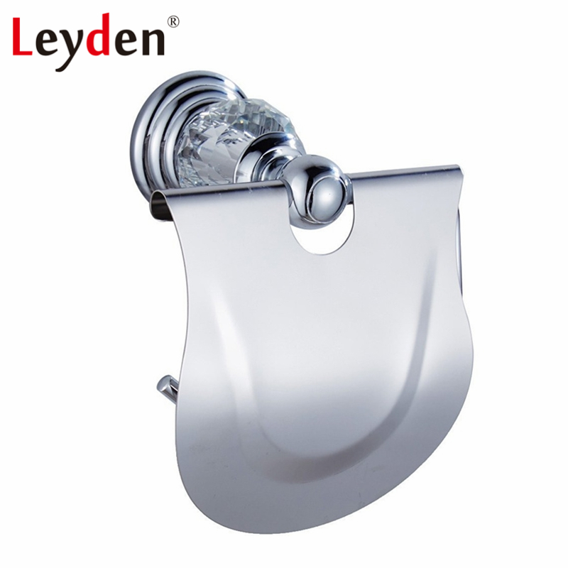 Leyden Luxury Toilet Paper Holder Crystal Roll Silver Wall Mount European Tissue Bathroom Accessory