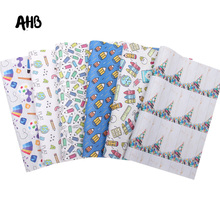 AHB Back To School Synthetic Leather Sheets Pencil Books Faux Leather For Bows Vinyl DIY Hairbows Handmade Crafts Materials цена и фото
