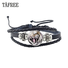 TAFREE High Quality PU Leather Tiger Bracelet Adjustable Black Rope Bracelets Glass Cabochon Charm Jewelry  E618