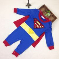 2017 Newborn Baby Boy Jumpsuits Superman Character Print Tiny Cottons Short Sleeve Baby Boy Rompers Infant
