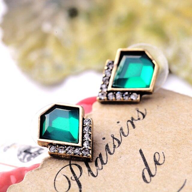 New Design Retro Exquisite Women Acrylic Geometric Green Gem Stud Earrings For Women Dress Accessories
