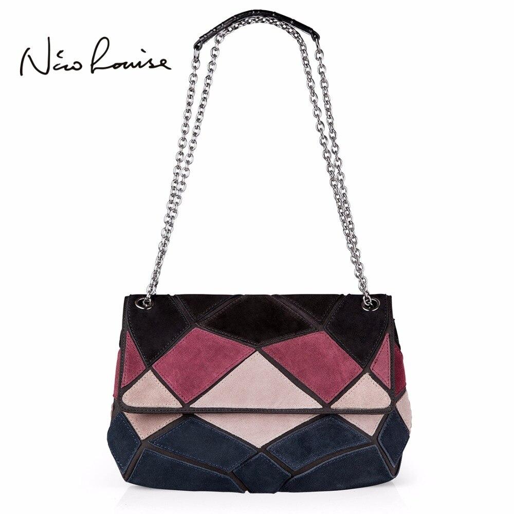 2018 женская сумка из натуральной замшевой кожи на ремне модная женская Лоскутная цветная цепочка через плечо кошелек Bolsa женская сумка мессенджер купить на AliExpress
