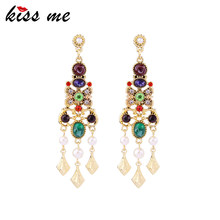 KISS ME Luxury Hollowed Geometric Resin Crystal Drop Earrings 2018 Brand Chandelier Earrings for Women Party Jewelry(China)