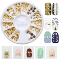 3D Glitter Metal Nail Art Decoration Triangle Moon shape Punk Rivet Studs Metallic Nail Art Sticker Nail Rhinestone & Decoration