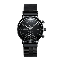 LOREO 6112 Germany Watches Men Luxury Brand Black Stainless Steel Multifunction Calendar Chronograph Corrosion Resistant Watch