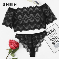 SHEIN Crop Lace Bardot Top And Pantie Pajama Set Women Plain Sleepwear 2018 Summer Sexy Nightwear