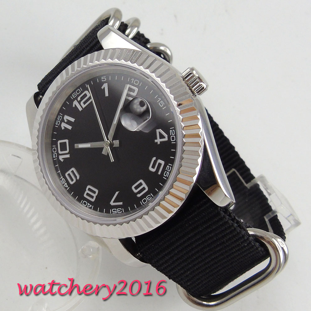 40mm Parnis black dial sapphire glass date adjust automatic movement Mens Watch