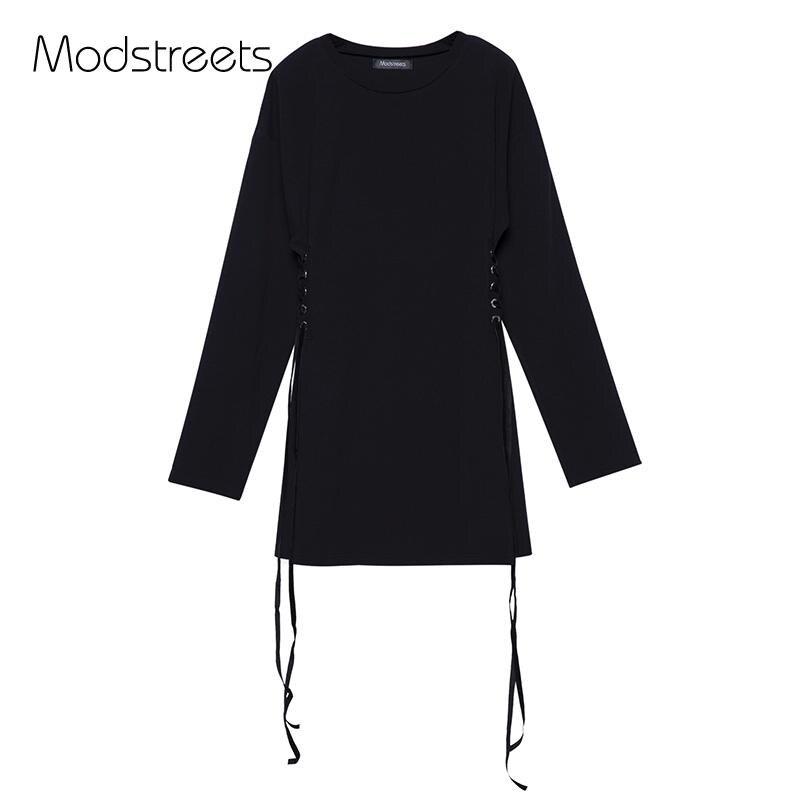 Modstreets Street Wear линия платье Для женщин с длинным рукавом черные платья на шнуровке вечерние осень универсальные пуловер Vestidos De Fiesta