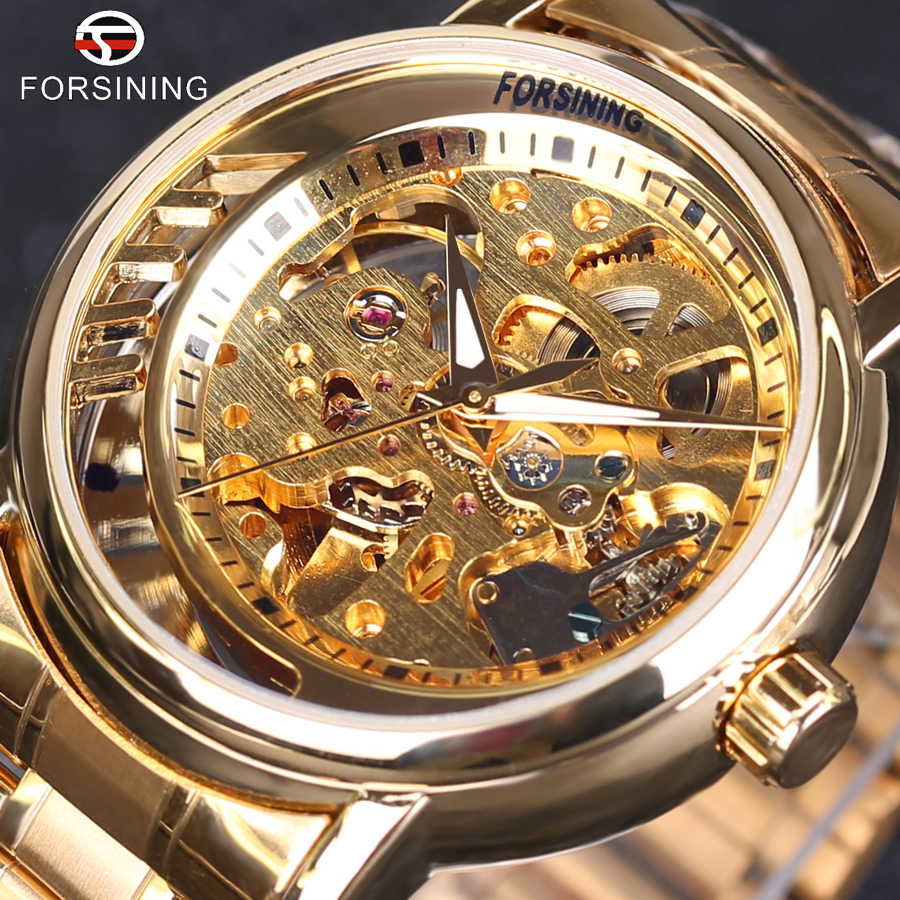 Automatic Mechanical Skeleton Watch Clock 3D Series Hollow Full Golden Skeleton
