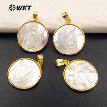 WT JP042 Religious Luck Token Natural White Shell Round Shape With Gold Trim Pendant For Dainty Necklace Jewelry
