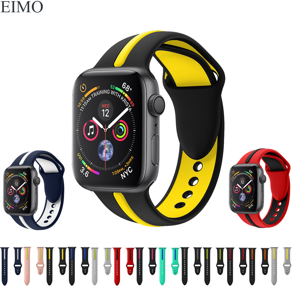 EIMO Sport Silicone Strap for Apple Watch Band 44mm 40mm 42mm 38mm Iwatch 4 3 2 1 Replacement Rubber Wrist Bracelet Watchband 20 colors sport band for apple watch band 44mm 40mm 38mm 42mm replacement watch strap for iwatch bands series 4 3 2 1