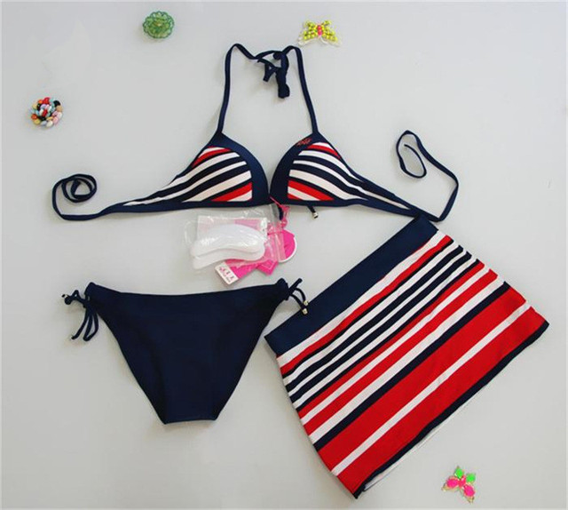 Sexy Striped Wired Push Up Bikini Swimwear, 3 Pieces Bathing Suit Dress Set