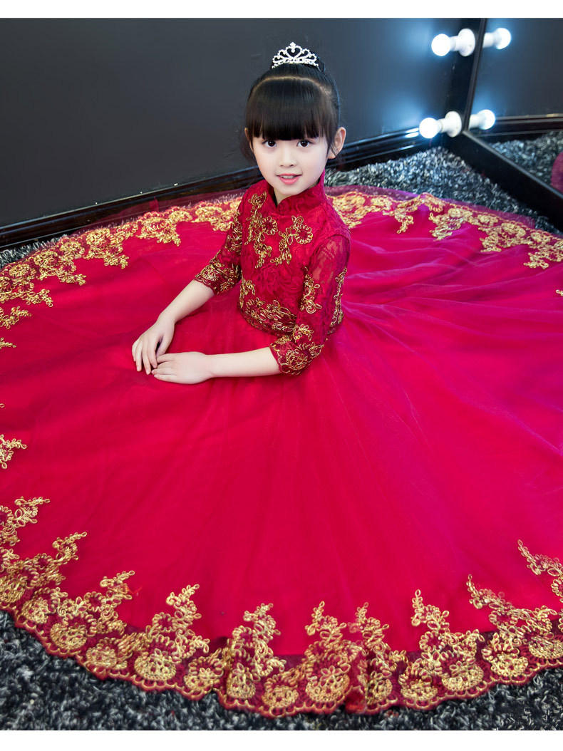 New Chinese Traditional Style Children Girls Embroidery Lace Long Sleeves Dress Kids Birthday Wedding Evening New Year Dress 2017new chinese traditional baby girls chi pao cheongsam red dress new year gift children clothes kids embroidery party dresses