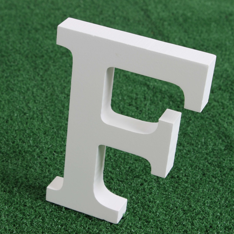 Wooden Wood White Letters Alphabet Word Free Standing