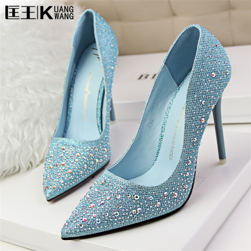 Shoes Woman Sexy High Heels Rhinestone Pumps Ladies Party Wedding Shoes Silver Gold Heels Women Shoes 2017 Zapatillas Mujer 2015 sexy women black rhinestone rivet high heels wedding party prom shoes with silver spikes rivet pumps free shipping