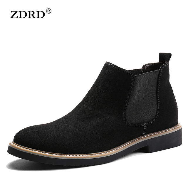 Genuine Suede Leather Shoes  Men Short Boot Slip-on Boots Fur Inside Warm Winter Pointed Toe Chelsea Boots Fashion Man Oxfords