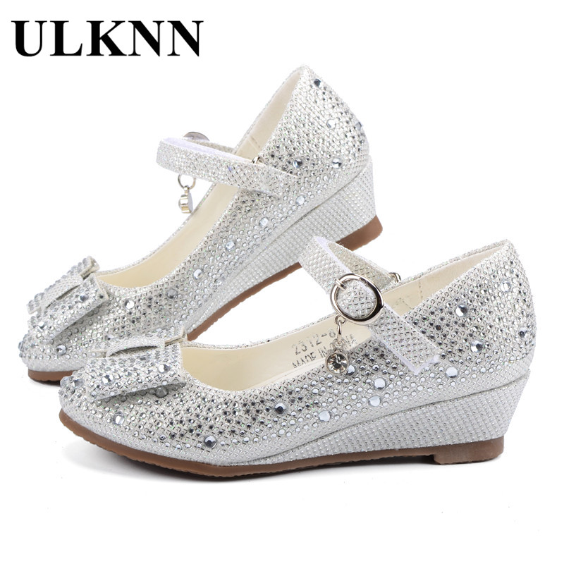 ULKNN Girls Silver Gold Party Wedding Shoes Princess Shoes Leather Glitter Crystals Rhinestones Wedge Butterfly Knot Kids Shoes