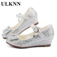 ULKNN Meninas Partido Ouro Prata sapatos de Casamento Da Princesa Sapatos de Couro Glitter Cristais Strass Cunha Borboleta Nó Sapatos de Crianças
