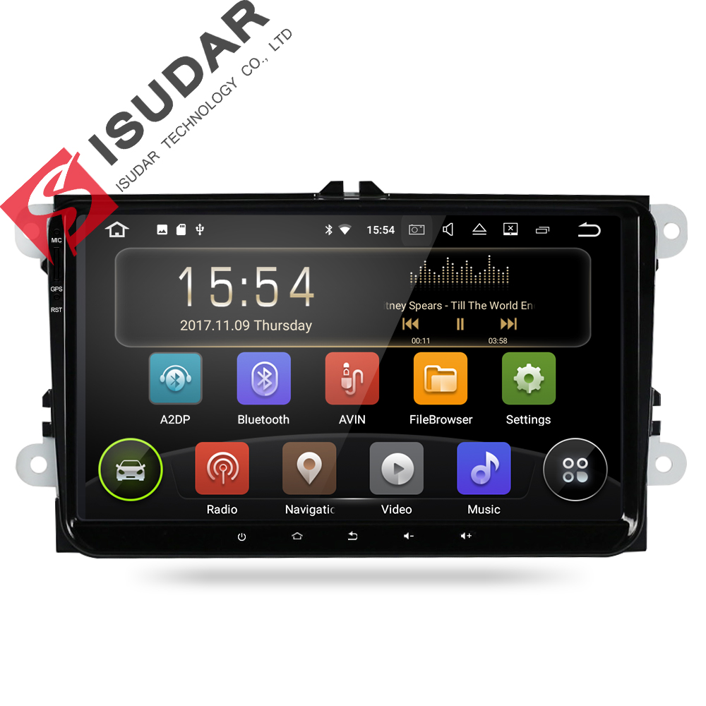 Isudar Car Multimedia Player 1 Din Android 8.1.0 DVD Automotivo For VW/Volkswagen/POLO/PASSAT/Golf/Skoda/Octavia/Seat GPS Radio funrover android 8 0 two 2 din 9 inch car dvd player stereo for vw volkswagen polo golf skoda octavia seat radio wifi usb no dvd