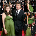 Angelina Jolie Green Dress Carpet Celebrity 2016 Maternity Evening Gown For Women  Bandage Dress Puffy Pleate Chiffon Long Party