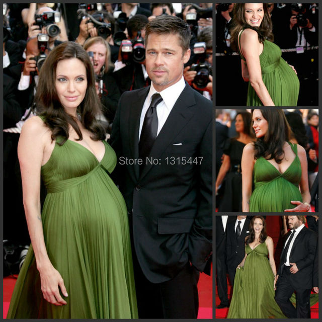Angelina Jolie Green Dress Carpet Celebrity 2016 Maternity Evening Gown For  Women Bandage Dress Puffy Pleate 481c66859986