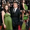 Angelina Jolie Verde Vestido de La Celebridad de La Alfombra 2016 de Maternidad Vestido de Noche Para Las Mujeres Vestido Del Vendaje Puffy Pleate Gasa Del Partido de Largo