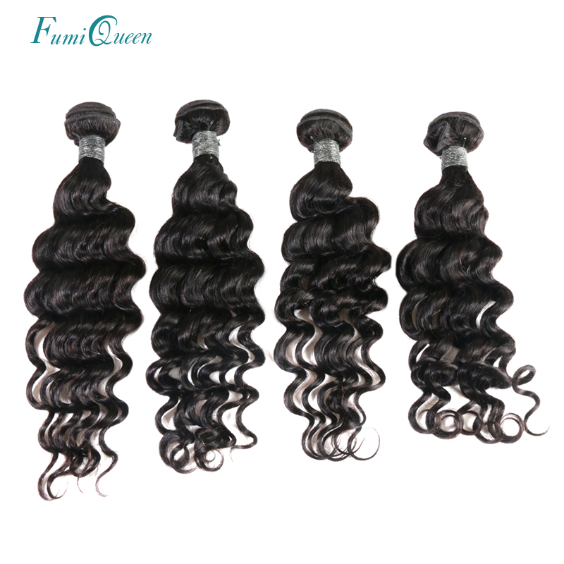 Ali Fumi Queen Hair 4Pcs Lot Peruvian Natural Wave Hair Bundles Natural Color 100% Remy Human Hair Free shipping