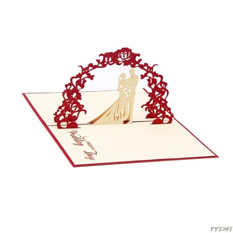 3D Pop Up Greeting Cards Wedding Valentines Anniversary Invitations